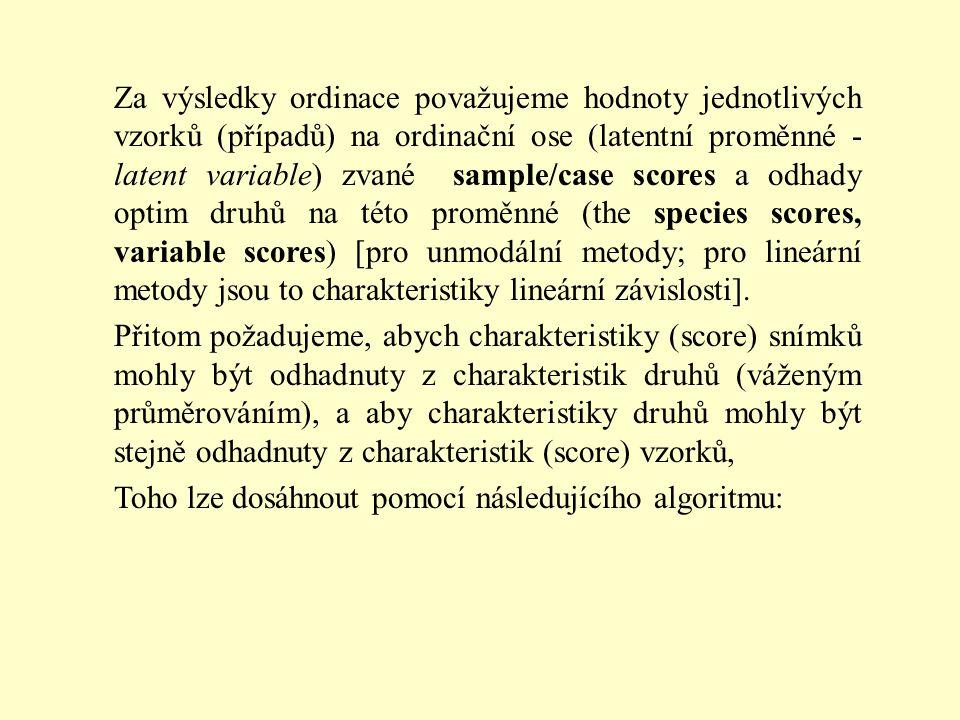 Za výsledky ordinace považujeme hodnoty jednotlivých vzorků (případů) na ordinační ose (latentní proměnné - latent variable) zvané sample/case scores a odhady optim druhů na této proměnné (the species scores, variable scores) [pro unmodální metody; pro lineární metody jsou to charakteristiky lineární závislosti].